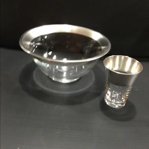 Silver rimmed bowl and shot glass.